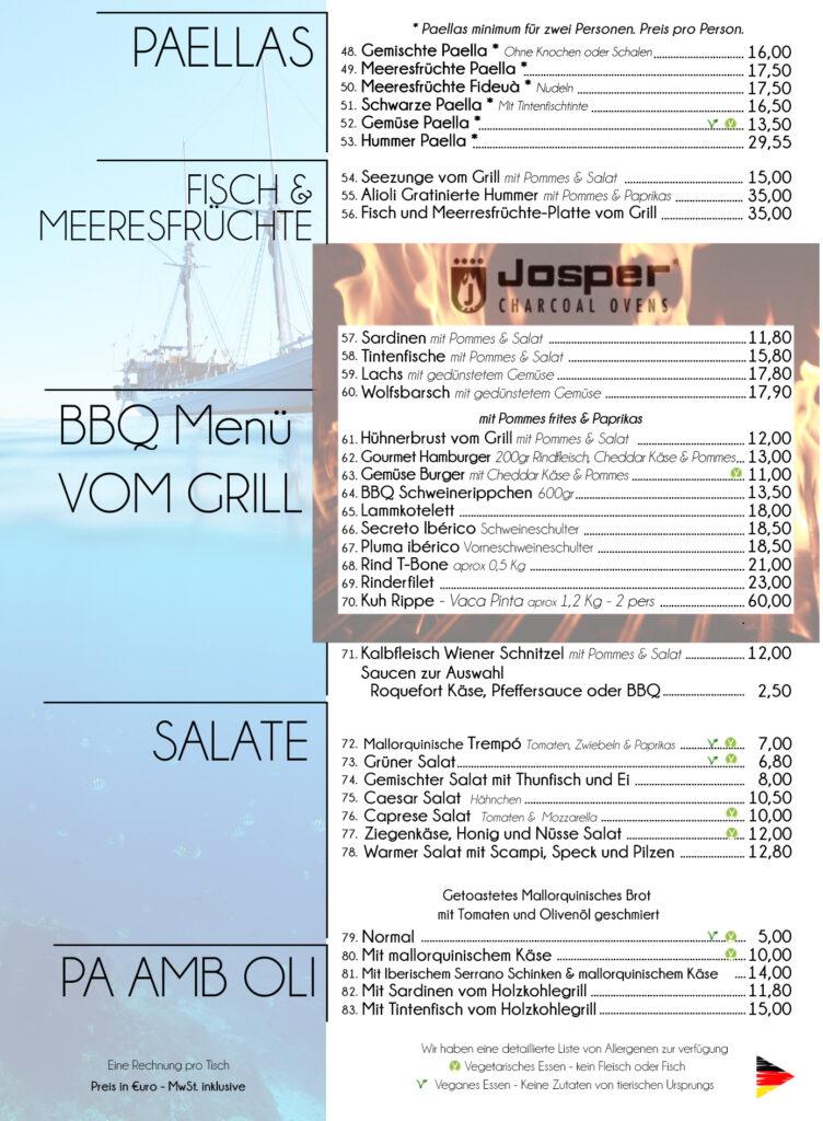 Restaurant Menü Hostal Playa Cala Santanyi