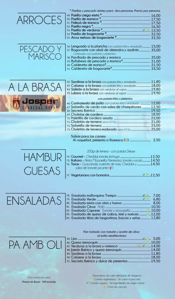 Restaurante playa cala santanyi