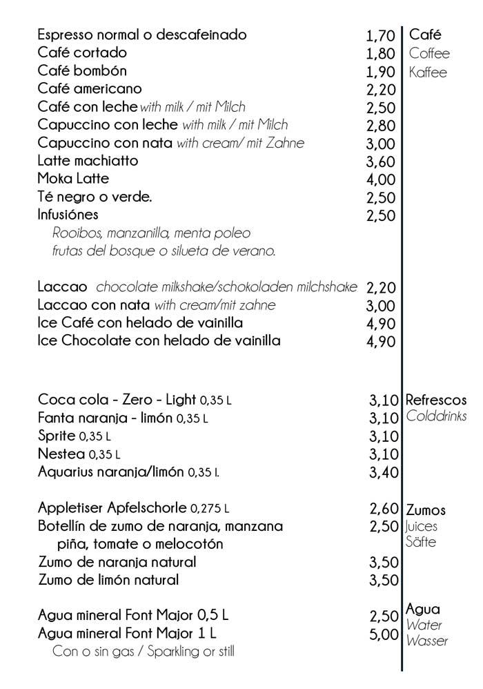 Cafes y bebidas desayuno Hostal Playa Cala Santanyi
