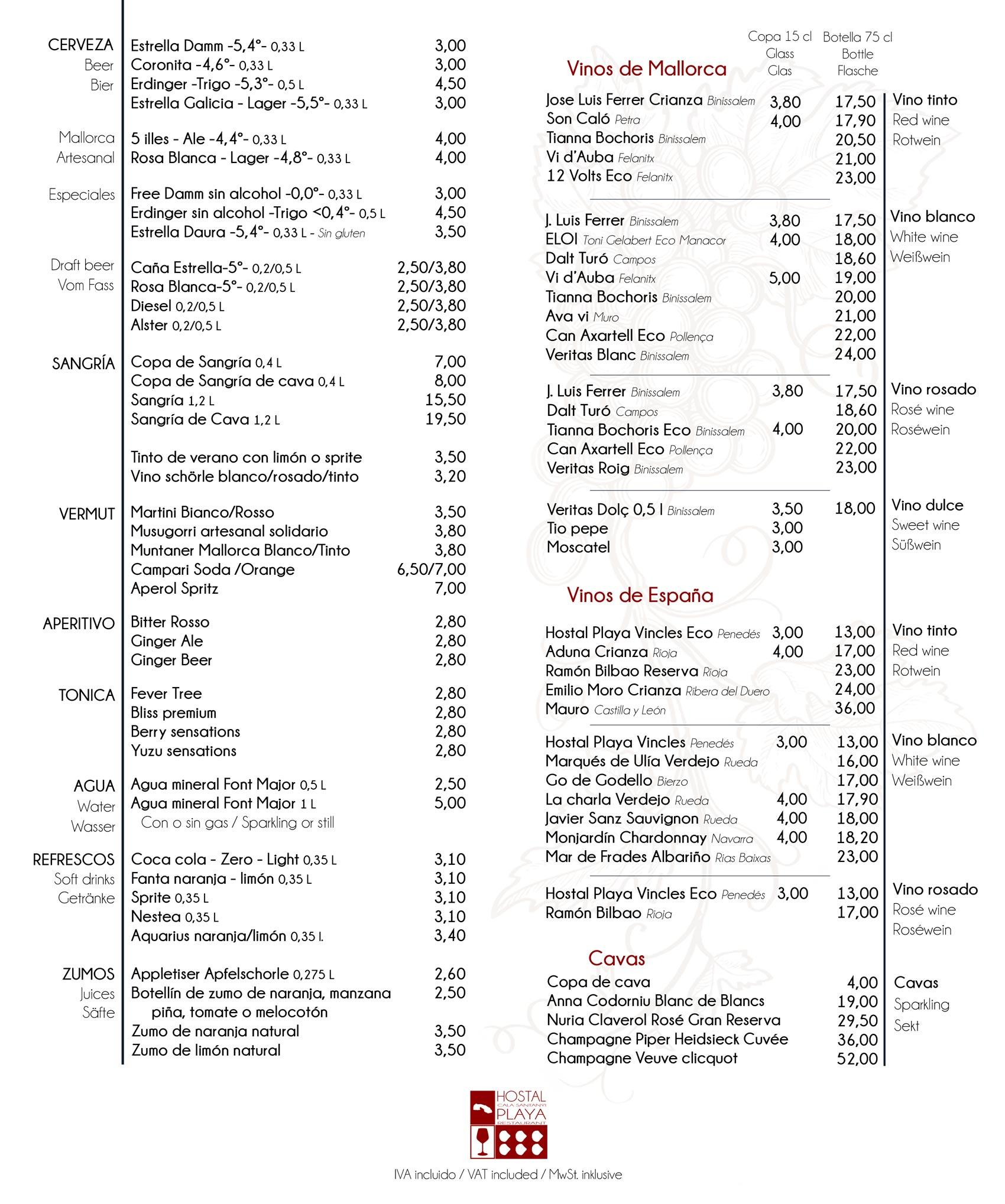 Bebidas y vinos restaurante cala santanyi